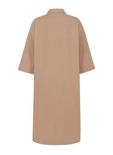 Nocturne Oversize Gömlek Elbise Bej